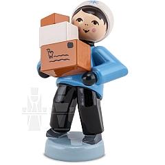 Weihnachtspost Junge mit Paketen blau von Ulmik