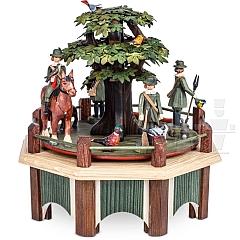 Spieldose Jagdaufzug mit Kastanie