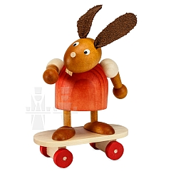 Hase rot auf Skateboard 7 cm