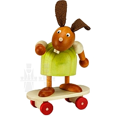 Hase grün auf Skateboard 7 cm