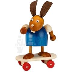 Hase blau auf Skateboard 7 cm