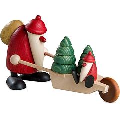 Weihnachtsmann mit Schubkarre und Kind groß