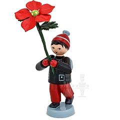 Winterblumenjunge rot mit Weihnachtsstern