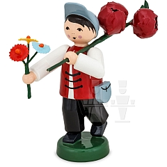 Junge mit Pfingstrose und Blumenstrauß