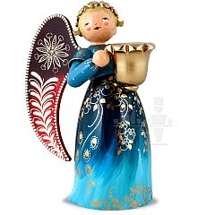 Engel reich bemalt groß mit Lichtnapf blau rechts schauend