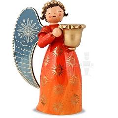 Engel reich bemalt groß mit Lichtnapf orange rechts schauend