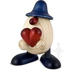Eierkopf Hanno mit Herz blau lasiert