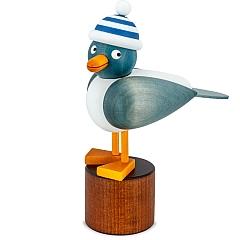Möwe blau mit blauer Ringelmütze