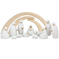 Weihnachtskrippe Krippenfiguren, 14-teilig weiß 12 cm mit Stall