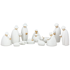 Weihnachtskrippe Krippenfiguren, 12-teilig weiß 12 cm