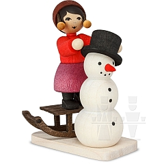 Snowman building Girl on Sledge stained from Ulmik