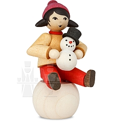 Snowman building Girl on Snowball stained from Ulmik