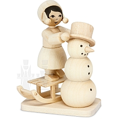 Snowman building Girl on Sledge natural from Ulmik