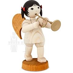 Schleifenengel mit Trompete stehend gebeizt