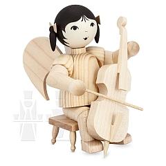 Schleifenengel auf Hocker mit Cello natur
