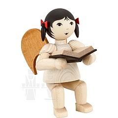 Schleifenengel mit Buch sitzend gebeizt