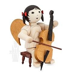 Schleifenengel auf Hocker mit Cello gebeizt