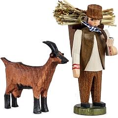 Bauer in rhöner Arbeitstracht mit Ziege