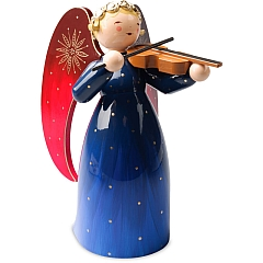 Richly Painted Angel large with Violin blue