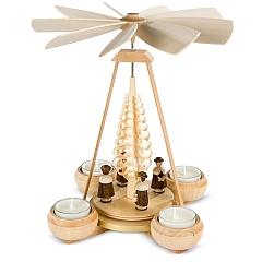 Pyramide klein Kurrende mit Spanbaum 1-stöckig natur mit Teelichte
