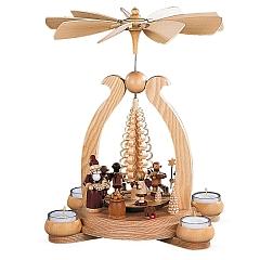 Bogenpyramide Bescherung 1-stöckig natur mit Teelichte