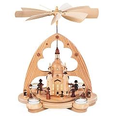 Bogenpyramide Frauenkirche 1-stöckig natur mit LED Beleuchtung
