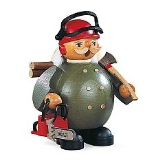 Räuchermann klein Waldarbeiter mit Motorsäge