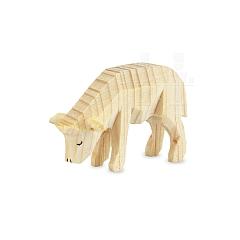 Schaf fressend natur für 7 cm Krippenfiguren
