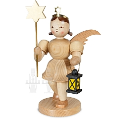 Angel short skirt natural wood 20 cm with Star and Lantern