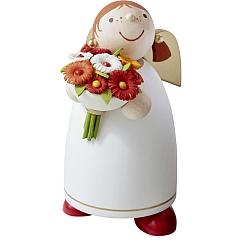 Schutzengel mit Blumenstrauß weiß Größe 3