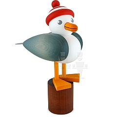 Seagull large light blue with striped hat red