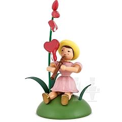 Blumenkind farbig sitzend mit Tränendem Herz und Blockflöte