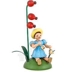 Blumenkind farbig sitzend mit Hagebutte und Glocken