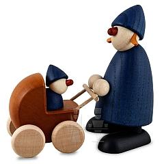 Gratulantin Paula blau mit Kinderwagen