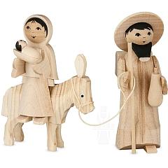 Maria und Josef auf Esel natur 7 cm