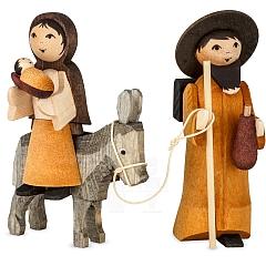 Maria und Josef auf Esel 7 cm gebeizt