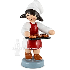 Bäckermädchen mit Tablett rot von Ulmik