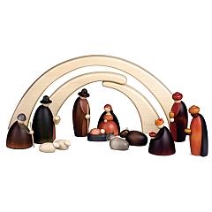 Weihnachtskrippe Krippenfiguren, 12-teilig 12 cm mit Stall