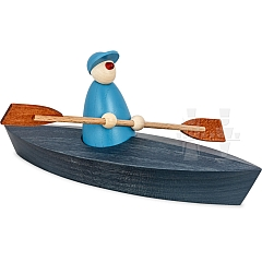 Ole im Paddelboot Einer blau