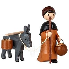 Eselkarawane Treiber mit Esel und Eimer 7 cm lackiert