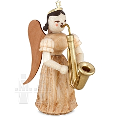 Faltenlangrockengel Naturholz mit Saxophon