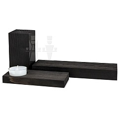 ML Set of Pedestals black stained 3 pieces