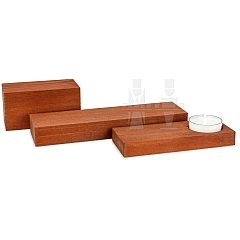 ML Set of Pedestals brown stained 3 pieces