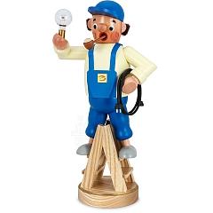 Räuchermann Elektriker auf Leiter mit Glühlampe