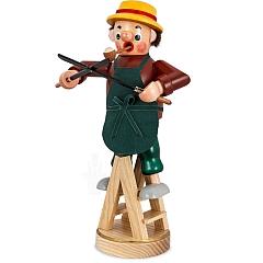 Räuchermann Gärtner auf Leiter mit Heckenschere