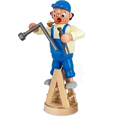 Räuchermann Installateur auf Leiter mit Rohr und Rohrzange