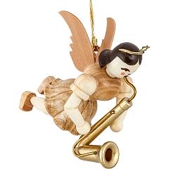 Schwebeengel Naturholz mit Saxophon
