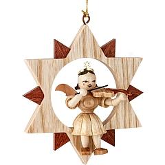Engel Naturholz im Stern mit Violine