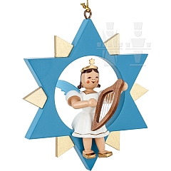 Floating Angel colored in the Star with little harp