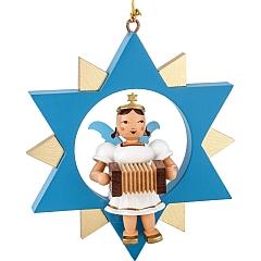 Engel farbig im Stern mit Harmonika